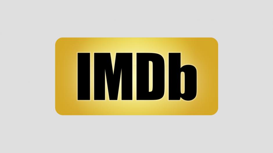 IMDb logo on grey background