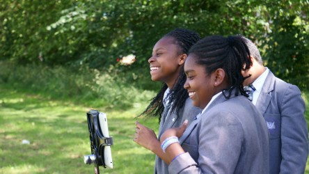 Secondary students making a film.