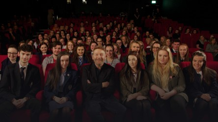 Young people watch film in the cinema