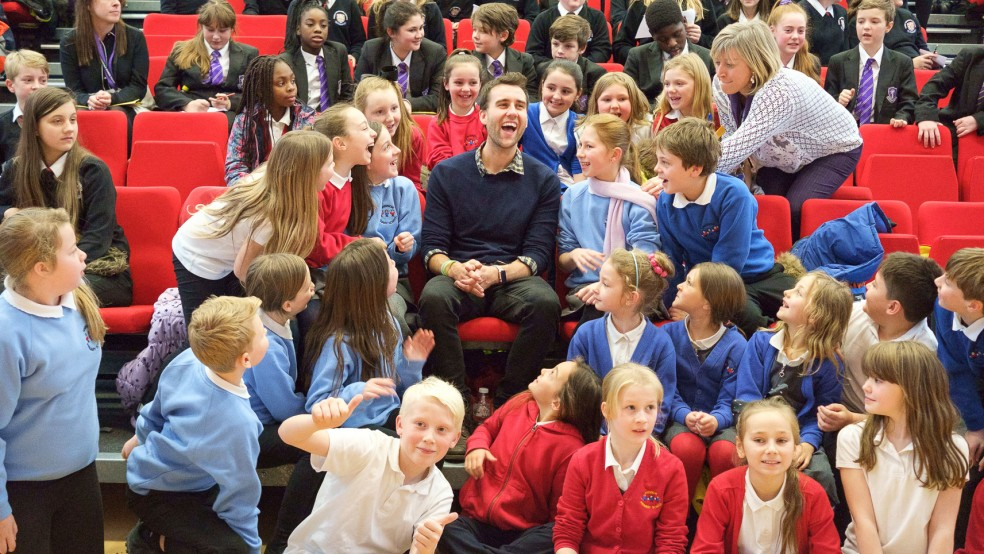 Actor Matthew Lewis, visiting Pudsey Grangefield School, in Leeds