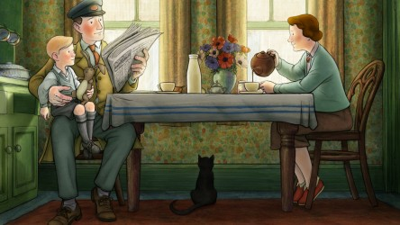 Ethel, Ernest and Raymond Briggs at the breakfast table.