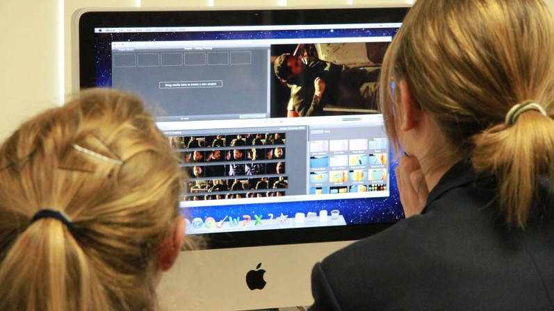 Students using iMovie